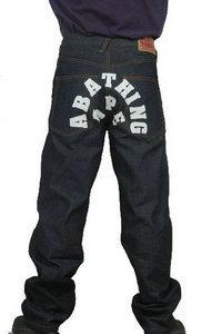China Bape A Bathing Grey White Mens Jeans
