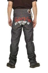 Buy Bape A Bathing Ape Grey Red White Mens Jeans at wholesale prices