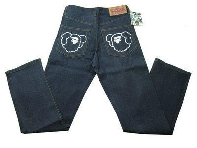 Buy Bape A Bathing Ape Navy White Mens Jeans at wholesale prices
