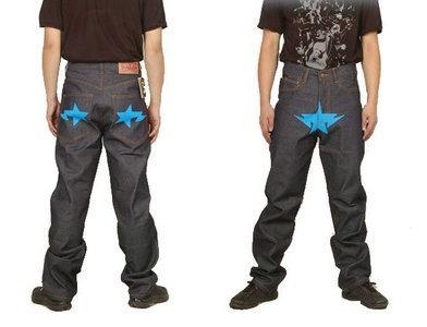 Buy Bape A Bathing Ape Blue star Grey Mens Jeans at wholesale prices