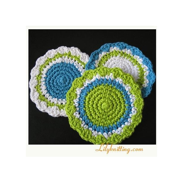 Crocheting Rows In A Circle : CROCHET ROUND DISHCLOTH BABY BLANKET - Only New Crochet Patterns