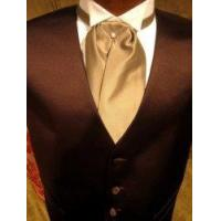 """Quality Satin Tuxedo Vest - Chocolate Brown with """"Solid Fusion"""" Champagne Ascot for sale"""