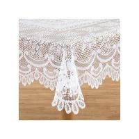 China White Rose Lace Tablecloth 72 Inch Round on sale