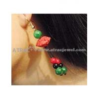 Carved lacquerware pure manual HAPPY long drop earrings