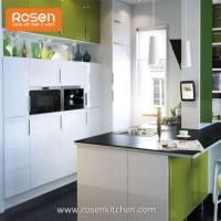 Kitchen Storage Wall Cabinets with White Stained Glass Doors