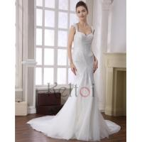 Quality Mermaid Scoop Neck Sweep Train Tulle Bridal Wedding Dress(DN6946) for sale