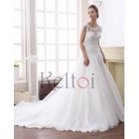 Quality A Line Scoop Neck Court Train Tulle Bridal Wedding Dress(DN6945) for sale