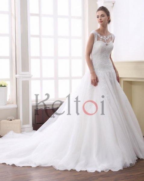 Buy A Line Scoop Neck Court Train Tulle Bridal Wedding Dress(DN6945) at wholesale prices