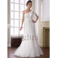 Buy cheap A Line One Shoulder Floor Length Tulle Wedding Dress(DN6905) from wholesalers
