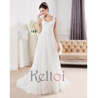 Quality A Line Scoop Neck Long Train Tulle Wedding Dress(DB28) for sale