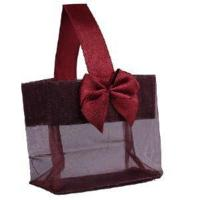 "Quality Burgundy Sheer Tote with Satin Handle & Bow (3.25"" x 3.25"" x 2""), 12 bags SHTOTE-BU-D for sale"