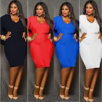 Quality Plus Size Sexy Batwing Sleeve Halter Club Dresses Ruffles Hollow Women Clothing for sale