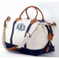Quality Monogrammed Canvas Weekender Duffle Bag - REAL LEATHER trim for sale
