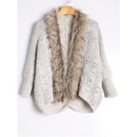 Quality Faux Fur Trimmed Cable Knit Cardigan - Light Khaki for sale