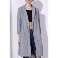 Quality Women Shawl Neck Gray Wool Coat - Gray L for sale