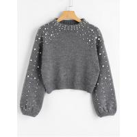 Quality Women Faux Pearl Mock Neck Sweater - Gray S for sale