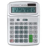 Quality Q-Connect Large Table Top 12 Digit Calculator Grey for sale