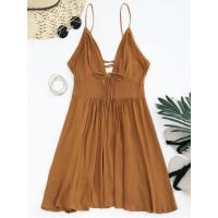 Quality Dresses Plunge Low Back Lace Up Sundress - Light Brown M for sale