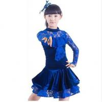 Quality Costume Collection Product name:Long Sleeve Lace Latin Dance Dress Performance Costume LAT25 for sale