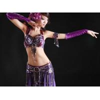 Quality 4pcs Sexy Purple Tribal Belly Dance Costume Set for sale