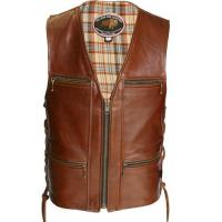 China Touring American Bison Brown Leather Vest on sale