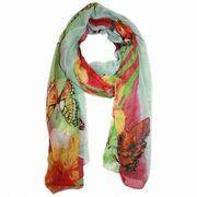 Quality Fashion Scarf, Women's Sheer Butterfly Printed Scarf, Green Scarf for sale