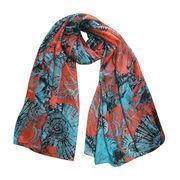 Quality 100% Silk Scarves, Red and Blue Modern Design Printing Neckerchief for sale