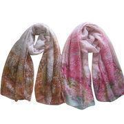 Quality Ladies' Woven Scarves, Printed with Contrast Color Flower Allover for sale