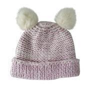 Buy cheap 2017 Winter Girls' 100% Acrylic Knitted Hat with Fur Pom-pom from wholesalers
