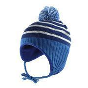 Buy cheap Babies' knitted hat with earflaps and big pompon from wholesalers
