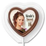 China 1st Birthday Party Favors Heart Shaped Chocolate Lollipops on sale
