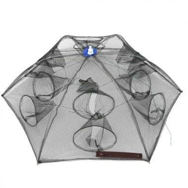 Buy Sports & Outdoor Umbrella style Portable Foldable Fishing Trap Cast Net Shrimp Cage with 12 Holes at wholesale prices