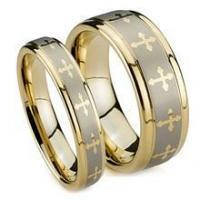 Quality Gold Plated Tungsten Wedding Band Set, Laser Crosses, Flat Top, High Polish Edge, 8MM and 6MM for sale