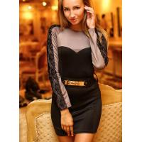 China Black Round Neck Long Sleeve Patchwork Lace Dress on sale