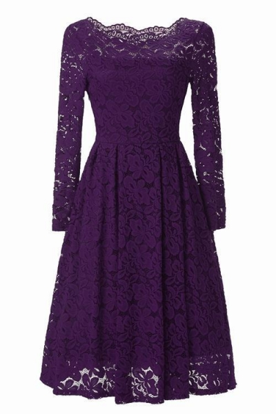 China Vintage Style Floral Lace Swing Dress with Long Sleeve Boat Neck for Cocktail Party