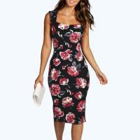 China Scoop Neck Garden Floral Midi Dress Sleeveless Cut Out Back Pencil Dress on sale