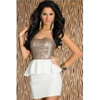 Buy cheap Glitter Gold Tight-fitting Strapless Sweetheart Bust Line Club Dress With Skirt Frill from wholesalers