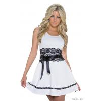Buy cheap White Sleeveless A-line Mini Bridesmaid Dress With Black Lace Waist and Bow Ribbon Details from wholesalers