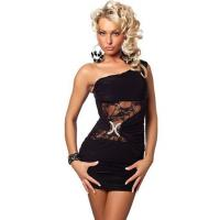 Buy cheap Black One Shoulder Mini Dress with Frontal Lace Inserts and Ring Detail from wholesalers
