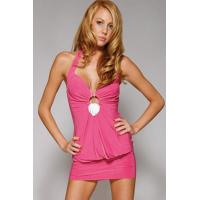 Buy cheap Pink Club Wear Halter Mini Dress with V Neck and O-Ring Detail from wholesalers
