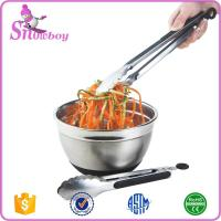 Quality Multi-size Stainless Steel Locking Kitchen Tongs with Nonslip Handle Stainless Steel Food Tongs for sale