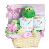 "Quality Unique Baby Gifts Forever Baby Book ""Cute as Can Bee"" Baby Girl Gift Basket for sale"