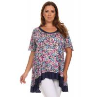 Quality Desere Plus-Size Women's Scoop Neck Tunic - Navy Floral for sale