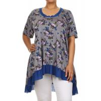 China Desere Plus-Size Women's Scoop Neck Tunic - GRAY FLORAL on sale