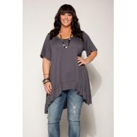 China Desere Plus-Size Women's Scoop Neck Tunic - Gray on sale