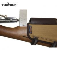 Quality Tourbon Canvas and Leather Hunting Gun Butt Stock Cheek Piece Riser Rest Pad Rifle Ammo Holder for sale