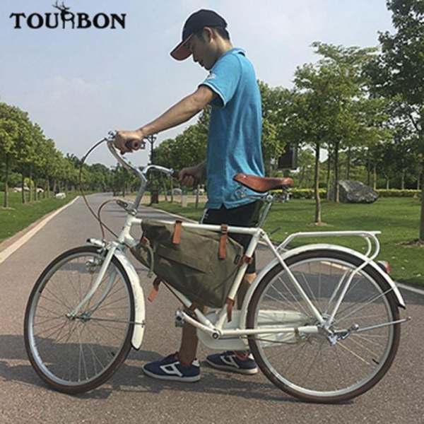Buy Tourbon Waterproof Canvas Bike Top Tube Frame Backpack Cycling Bag Seat Pack Green Men at wholesale prices
