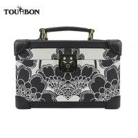 Quality Tourbon Fashion Portable Beauty Storage Box Make Up Cosmetic Case PU Covered Wooden Frame for sale
