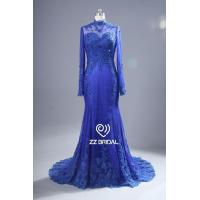 Buy cheap ZZ bridal 2017 high neck lace appliqued blue long evening dress from wholesalers