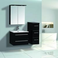 Quality 600mm Black High Glossy Bathroom Furniture With Mirror Cabinet for sale